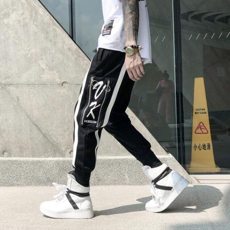2018 Europe et états-unis hommes pantalons pieds mode rayé zip poche pantalon Hip-Hop pantalon loisirs homme long pantalon