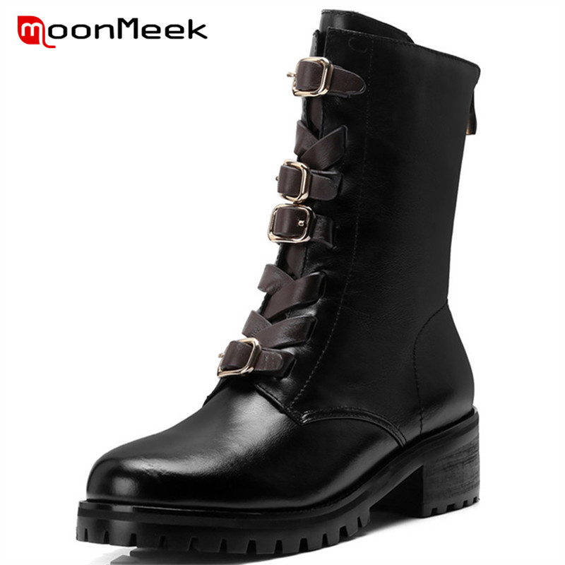 MoonMeek new arrive 2018 punk WOMEN boots med heels fashion genuine leather boots ladies popular round toe ankle boots womaMoonMeek new arrive 2018 punk WOMEN boots med heels fashion genuine leather boots ladies popular round toe ankle boots woma