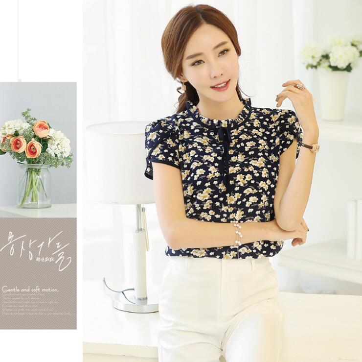 HTB1av 3QXXXXXX8XXXXq6xXFXXX2 - Floral Print Chiffon Blouse Collar Short Sleeve Women