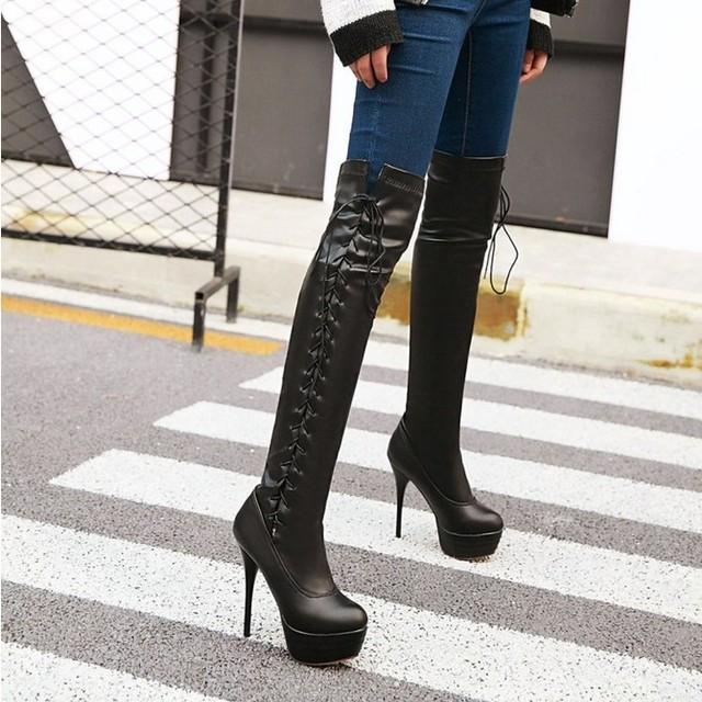 e17f8d3037013 Womens Casual Over The Knee Boots Thin High Heels Shoes Shoes