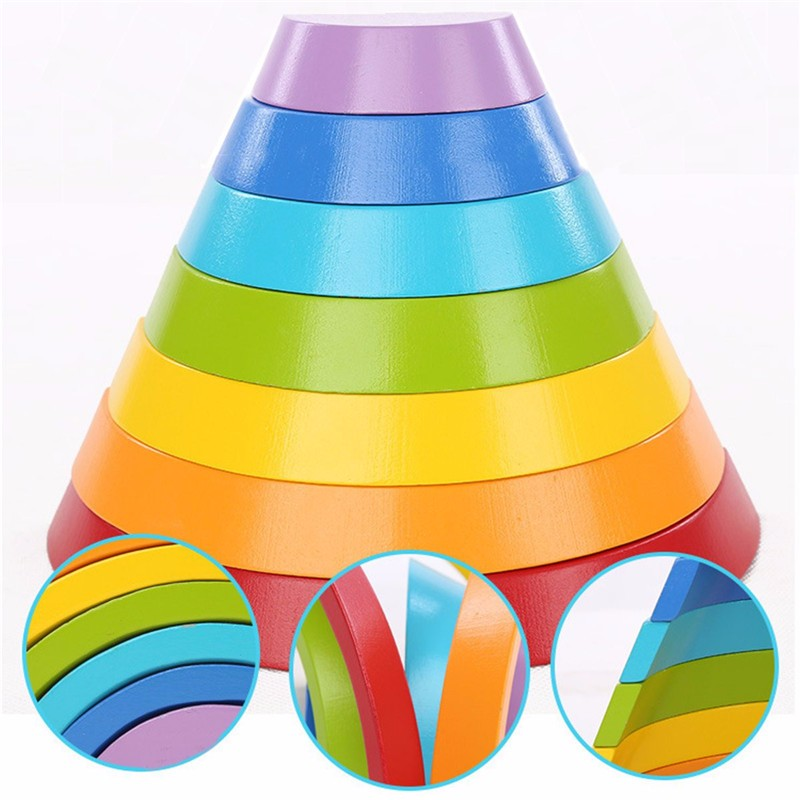 Wooden Rainbow Buliding Children Early Education Puzzle Toys Gifts For Children Kids Educational Play Toy Set
