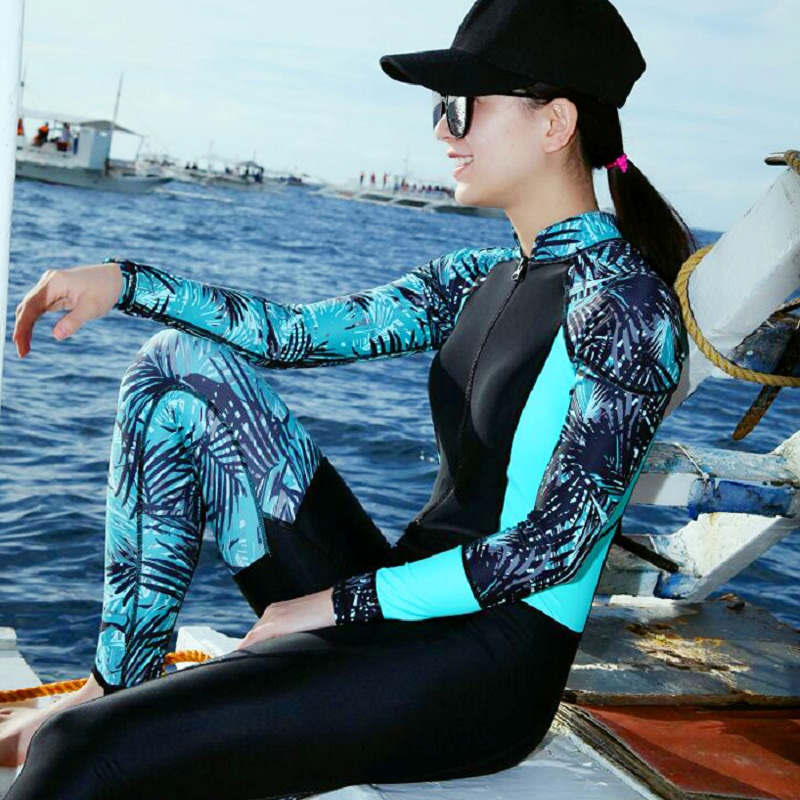 New Long-sleeve Women Dive Skin Sun Block Woman Snorkeling Wetsuit Female Diving Wetsuit Beach Body Suit Jellyfish Protection