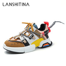 2019 Autumn Women Sneakers Thick Sole Ladies Platform Shoes Lace-Up Flat Casual Shoes Woman Chunky Dad Sneakers Chaussures Femme цена