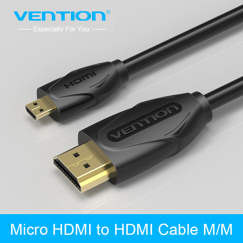 Vention Micro HDMI to HDMI Cable Gold-Plated HDMI 1.4V 1m 1.5m 2m 3m High Premium HDMI Adapter for Phone Tablet HDTV Camera