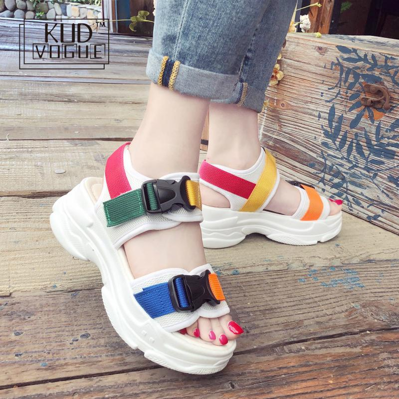 Vogue Womens Faux Leather Fashion Slope Heel Wedge Shoes Ladies Sandals Size