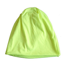 Men Women Beanie Solid Color Hip hop Slouch Unisex Knitted Cap Hat Fluorescent yellow