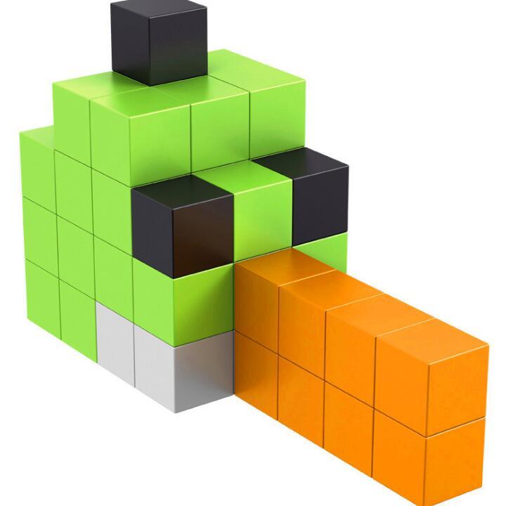 38 pcs/ensembles Magnétique Magique Cube Creative BRICOLAGE Blocs Technique En Plastique Blocs de Construction Jouets avec Boîte En Métal pour cadeau De Noël