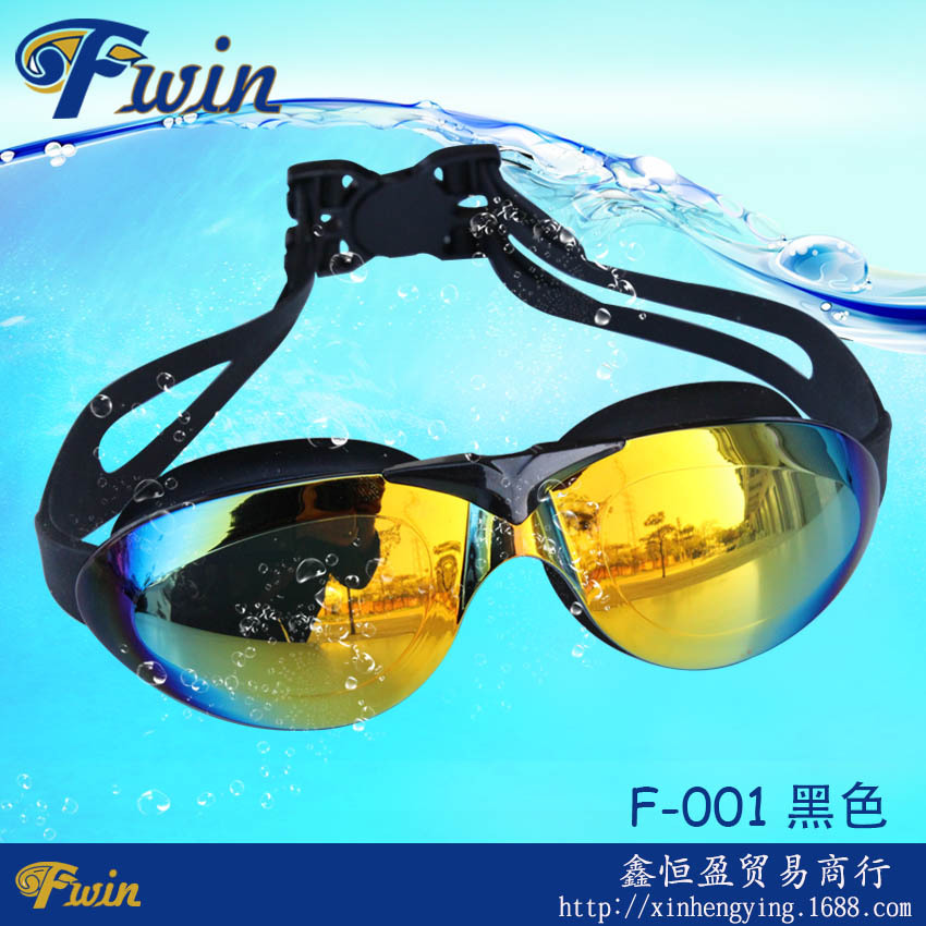 Stylish high quality big vision watersport waterproof silicon swim goggles with case diving colorful font b