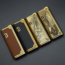 Free Shipping Leather Jet Lighter Gas Torch Turbo Lighter Gun Eagle Emboss Windproof Cigar Pipe Lighter 1300 C Butane No Gas