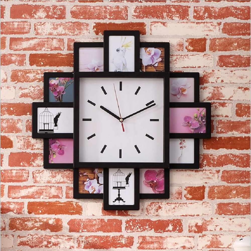 DIY Wall Clock Modern Design DIY Photo Frame Clock Plastic Art ...