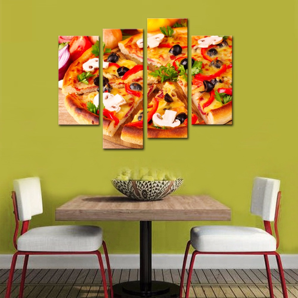 4 Pieces Delicious Pizza Paintings Food Picture Print on Canvas Wall ...