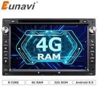 Eunavi Octa Core 4 GB di RAM 2 din Android 8.0 Car DVD GPS Navi per VW Glof Bora Passat Mk5 Golf Mk4 Polo Jetta Sede Peugeot 307