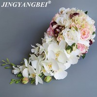 High Quality Wedding Bride 's Bouquet Artificial Flowers Silk Rose Butterfly Orchid Bouquet Home Romantic Wedding Holding Flower