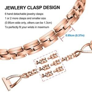 Image 3 - Bracelet de montre en acier inoxydable + diamant 18mm, pour femmes Fossil Gen 4 Venture HR / Gen 3 Q, ceinture bracelet or Rose bracelet de montre