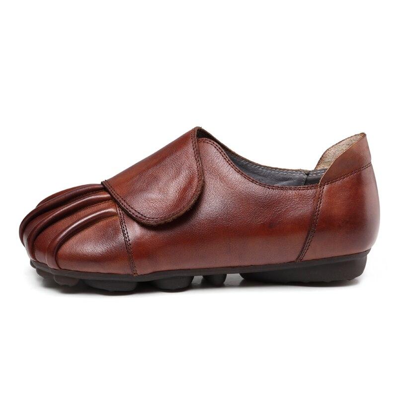 En Véritable Femmes Noir Cuir Confortable Chaussures Z Ronde Rétro Black Casual Plat Tête Mocassins Doux brown Brun xTtqXwU