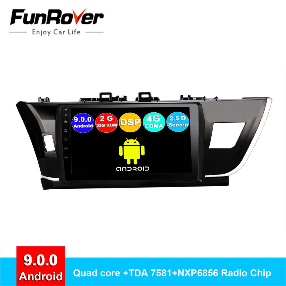 FUNROVER Android 9.0 2.5D+IPS For <font><b>Toyota</b></font> <font><b>Corolla</b></font> 10 E140 <font><b>E150</b></font> 2006-2013 Car Radio Multimedia Video Player Navigation GPS RDS DSP image