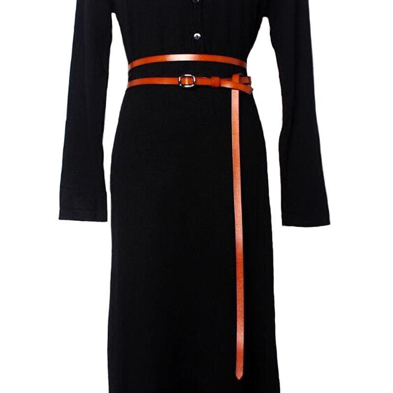חגורות ארוכות עור אמיתי בסגנון חדש אופנה נשים אבנטי חגורה דקה עם מותג מעצב שמלת עור נשים שרשרת