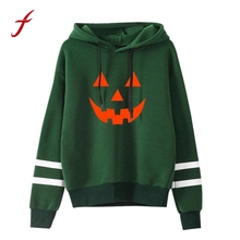Women Halloween Long Sleeve Hoodies For Women Sweatshirt Jumper Hooded Pullover Tops Green Fashion Blusa Sudaderas Mujer 2017