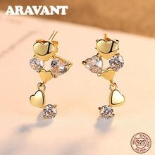 Authentic 925 Sterling Silver Heart Stud Earrings For Women Dazzling CZ Luxury Jewelry