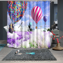 3d Lavender Romantic Hot Air Balloon Pattern Shower Curtains Bathroom Curtain Thicken Waterproof Thickened Bath