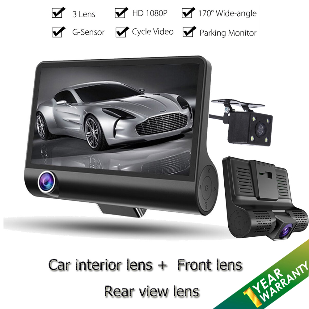 Car Dash Cam Car DVR Dash Video Recorder Full HD 1080P 170 Degree Wide Angle 3 Lens Rear view back mirror Dual lens camera цена