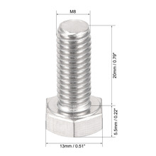 Uxcell 5pcs M8 x 20mm M6 80mm 40mm 50mm 60mm M12 35mm 304 Stainless Steel Hex Head Screw Bolts