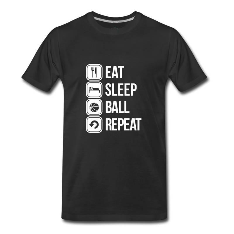 T Shirt Free Shipping MenS Crew Neck Eat Sleep Basketballer Repeat Short Gift Shirts