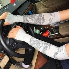 dbbf0bfb2610c7 Männer Kühlen Eis Seide Chinesischen Drachen tattoos Hülse Sonnencreme  Fingerlose Handschuhe Frauen Lange Stulpe Arm Fahren