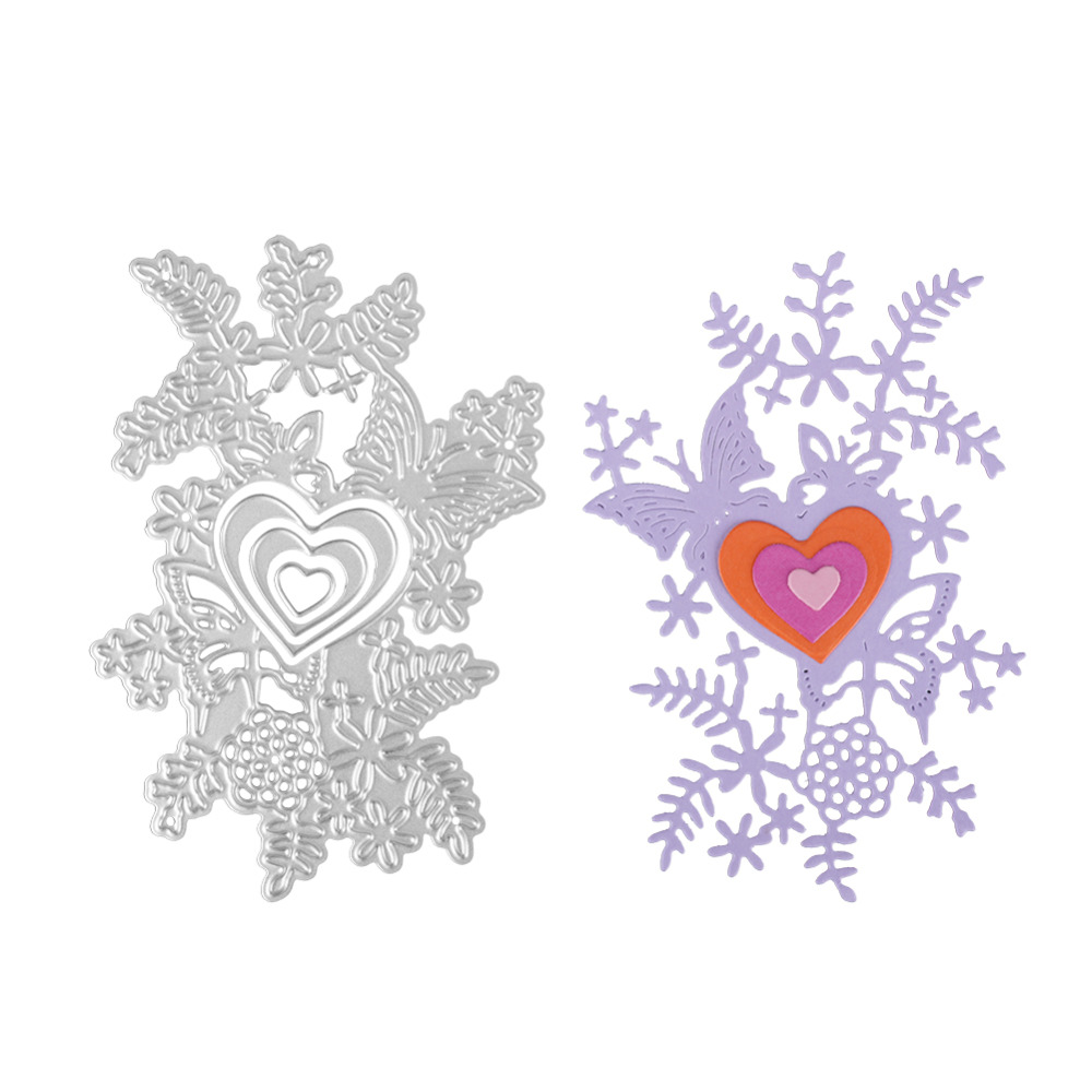 Bi fujian scrapbooking love flower shape Metal steel cutting Holly leaves love shape Book photo album art card Dies Cut 69*100MM
