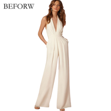 BEFORW 2018 New Casual Wedding Jumpsuit Sexy Sleeveless Halter Elegant Jumpsuit Ladies Coverall Deep V Sexy Halter Jumpsuit