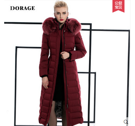 2015 New  Winter Thicken Warm Woman Down jacket Coat Parkas Outerwear Hooded Slim Fox Fur collar Long Plus Size 2XXL Goose High top ec mens winter thicken warm smalltand collar down jacket coat