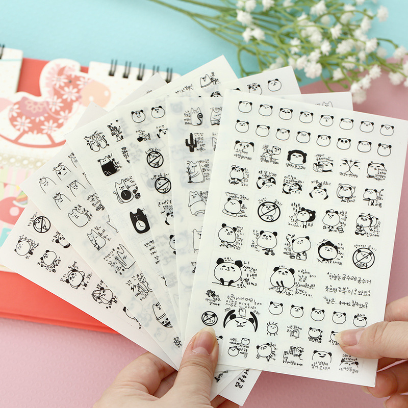 6 PCS / Pack Korea Joyfill Cute Panda Cat Pvc Sticker/ Instant Photo Decorative Masking Sticker/ Korean Stationery