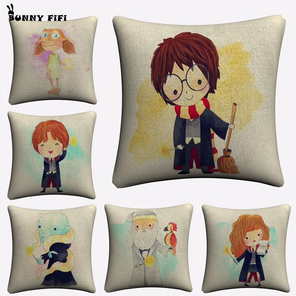 Cartoon Characters Decorative Cotton Linen Cushion Cover Harry 45x45cm For Sofa Chair Soft Potter Pillowcase Home Decor
