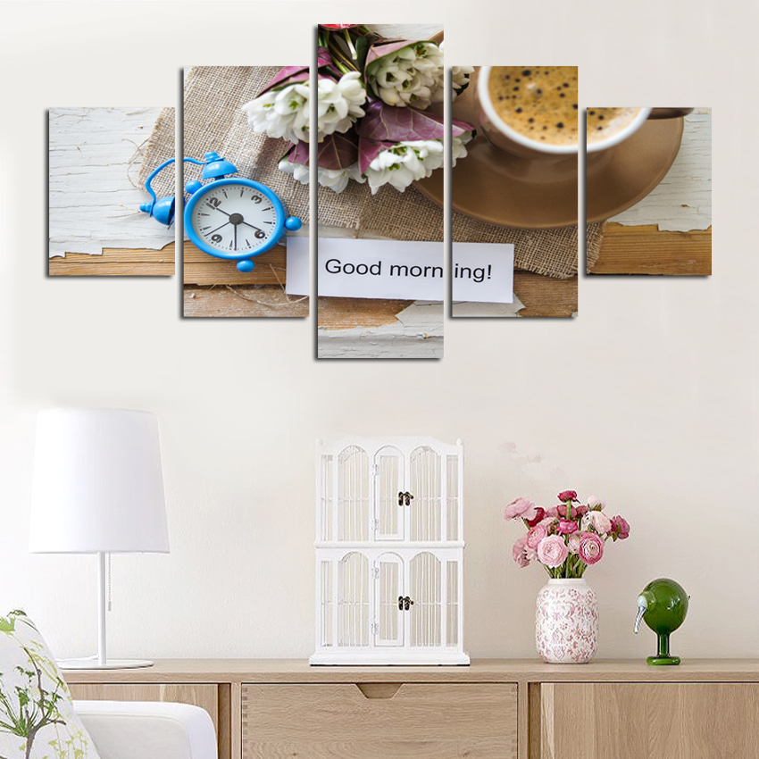 Good morning letter fruit and flower clock canvas painting poster decorated bedroom kitchen hotel background wall art gift FA220