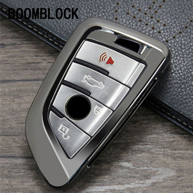 BOOMBLOCK Zinc alloy Car Key Cover Case Shell for BMW G30 F10 F30 F20 F52 G11 G12 For BMW X5 F15 X6 F16 X1 F48 X3 F25 X4 F26 airspeed carbon fiber auto car gearshift knob cover sticker for bmw f20 f30 f31 f34 3gt x3 f25 x4 f26 x5 f15 x6 f16 accessories