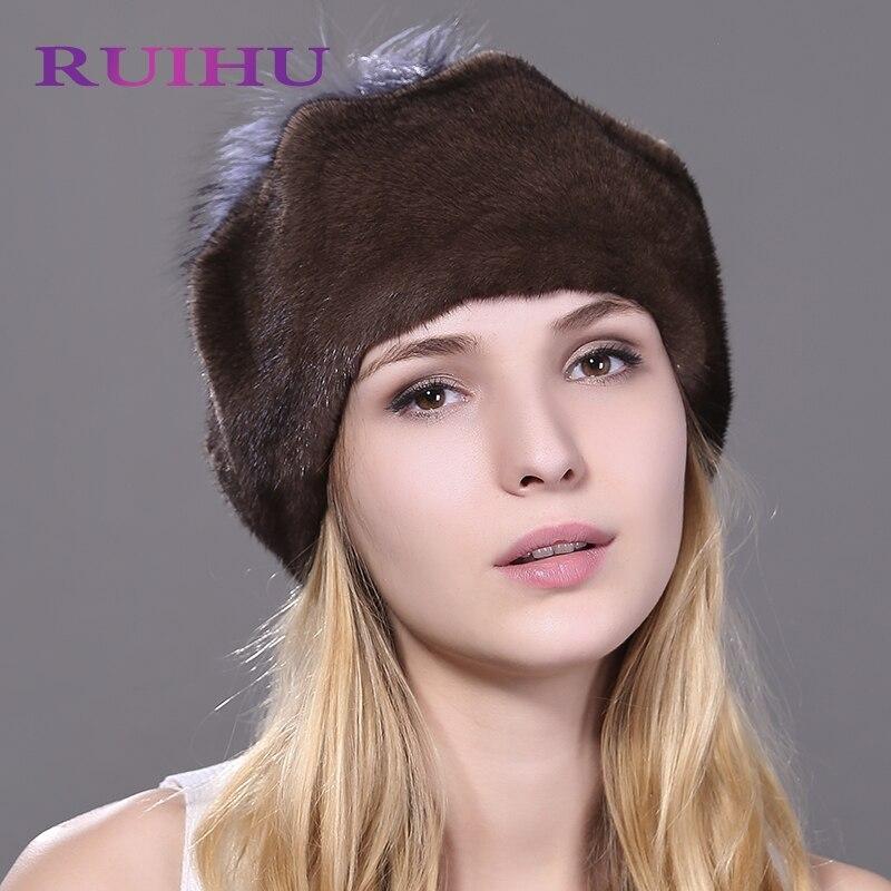 RUIHU Silver Fox Pom Poms + Real de Piel De Visón Sombrero de Las Mujeres Sombreros Para mujer Negro Marrón Rojo Sólido de Invierno Cap Gorros Mujer Gorros RHM704