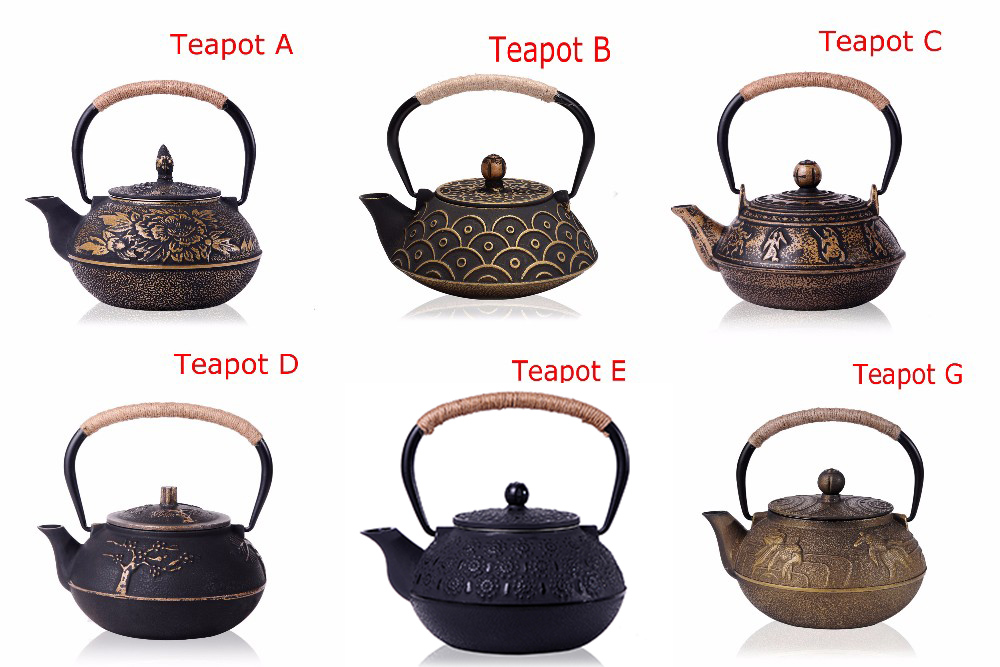 New 7 Chioces Cast Iron Teapot Set Japanese Tea Pot Tetsubin Kettle Enamel 900ml Kung Fu Infusers Metal Net Filter Cooking Tools 1
