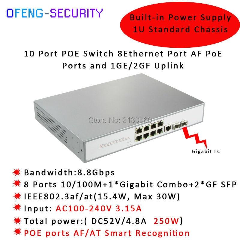 POE Switch,10-Port 10/100M POE Switch, 8Port POE, 1Port Gigabit Ethernet, 2Gigabit SFP LC, IEEE 802.3af/at, PoE output 15.4W cctv 4 port 10 100m poe net switch hub power over ethernet poe