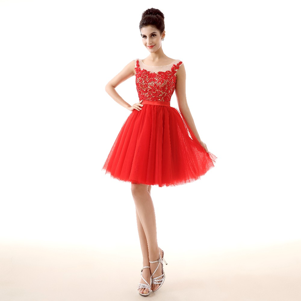 Red Lace   Cocktail     Dresses   Sexy Sleeveless Short Prom   Dresses   Appliques Girls Party Homecoming   Dresses