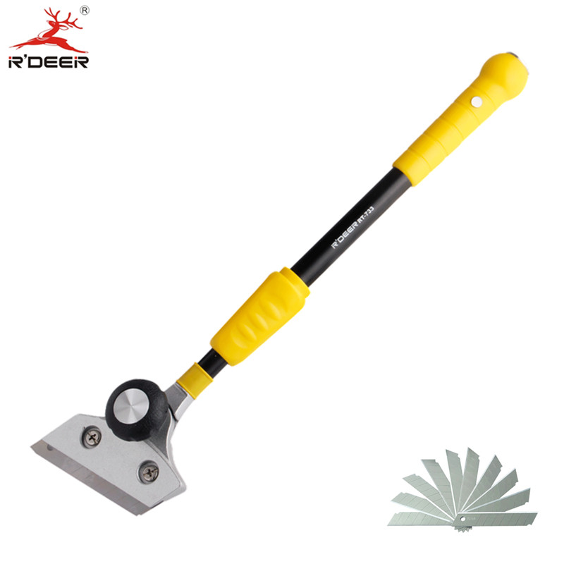 RDEER Cleaning Shovel Knife 400-580mm Adjustable Telescopic Rod For Glass Floor Tiles Scraper Cleaning Hand Tools multi functional shovel blade glass floor scraper cleaning utility knife red black