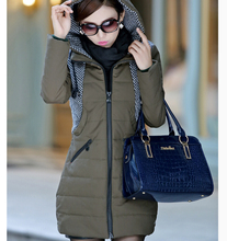 Korea New Fashion Women Winter Cotton-padded clothes Hooded Splicing Big yards Medium long Coat Women Slim Thick Warm Coat G2274