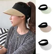 Summer Straw Sun Hat Simple Women Outdoor Backable Visor Hats For Wide Brim Uv Protection Female Chapeau Femme Ete