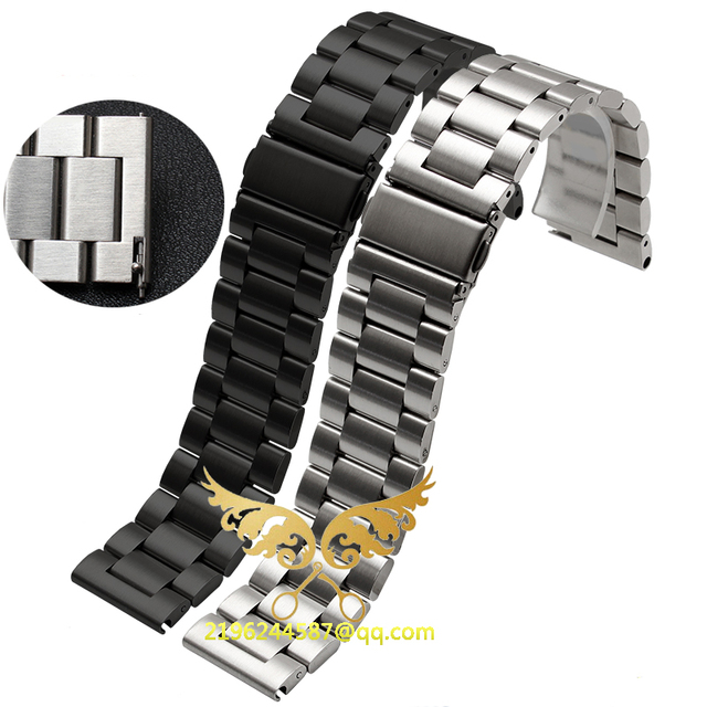 2016 New Fashion 20mm 22mm 23mm 24mm 25mm 26mm Stainless Steel Solid Link Watch Band Strap Bracelet Straight End Black Silver