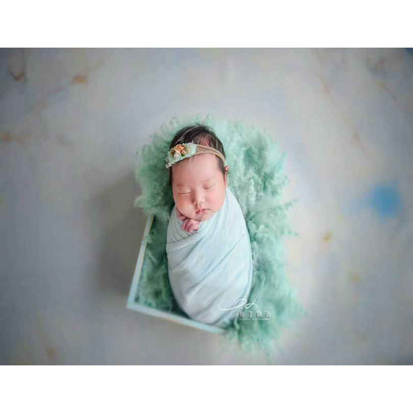 Curly Round Felted Blanket Newborn Photography Props Wool Stuffer Curly Felt MOSSY GREEN