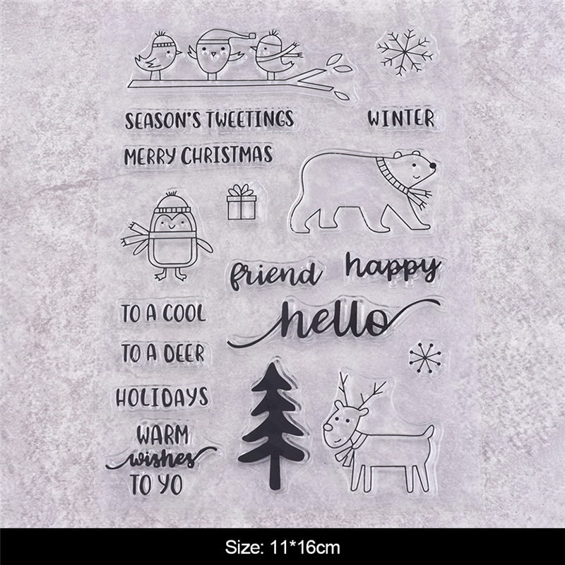 GJCrafts 18PcLot 11*16cm New Clear Stamps for Dies Card Scrapbooking Tree Animal Alphabet Embossing Craft Christmas Set Stamps