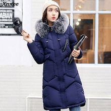 New Women Winter Long  Big Fur Collar Fashion Female Duck Parkas Jacket Thick Warm Elegant Down Coat Slim Wadded Jacket high quality fashion new russian 2016 winter coat women large turn down collar thick warm long duck down parkas black rad jacket