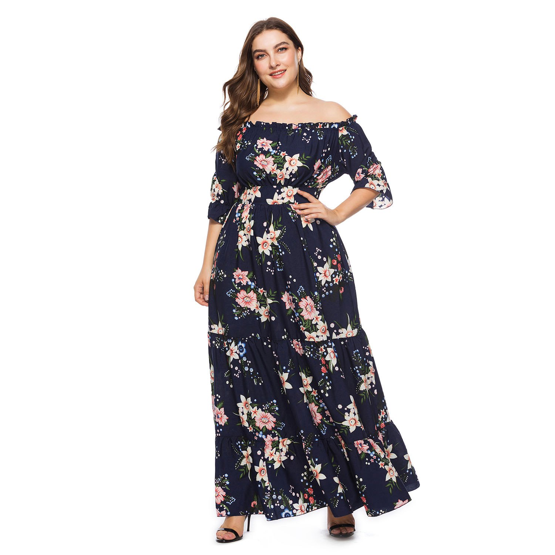 778c190727661 √Summer and autumn new word fat MM Bohemia big dress dress - a474