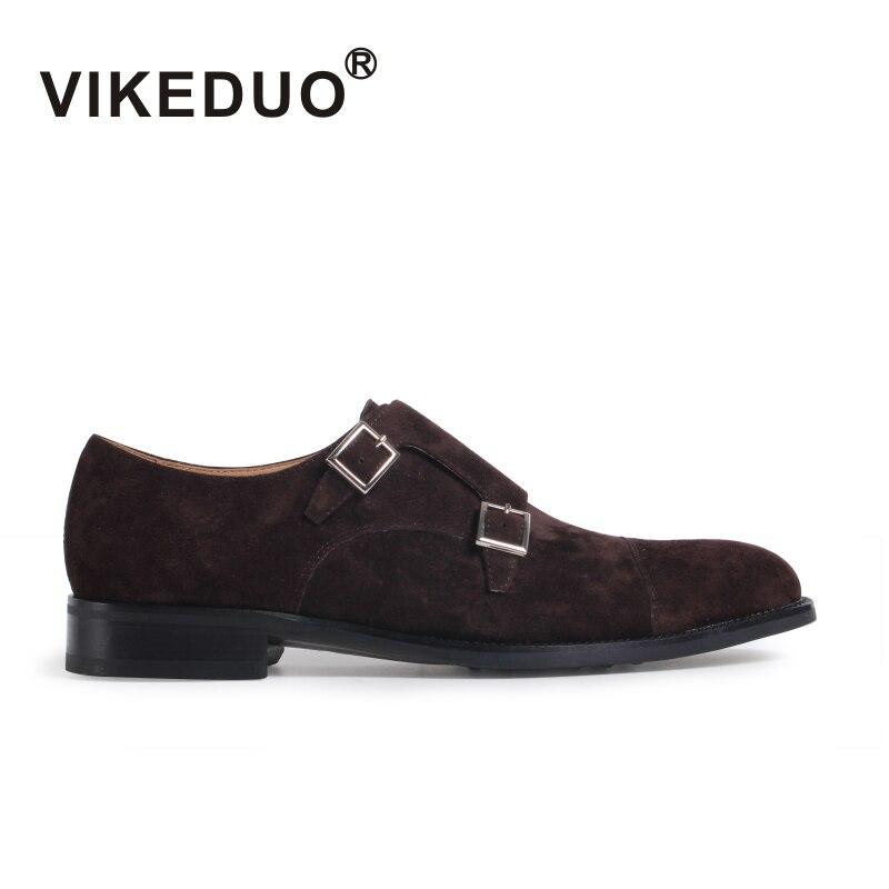 Vikeduo 2019 Transporté D'urgence À La Main Véritable Cuir Boucle Bureau D'affaires de la Mode Partie De Mariage Réel D'origine Designer Hommes Moine Chaussures