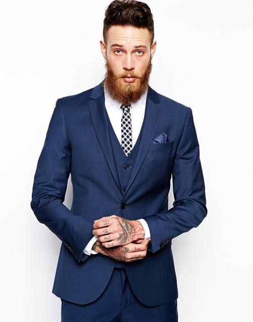 Online Shop Tailored Men suit Set Slim One Button Royal Blue Black ...