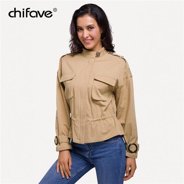 2018 chifave Women's Casual Windbreaker Coat New Autumn Stand Collar Drawstring Waist Jackets Zipper Pockets Female Fashion Coat